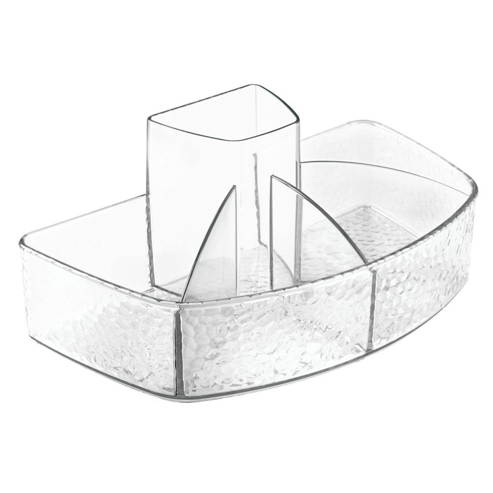 InterDesign Rain Cosmetic Organizer for Vanity Cabinet to Hold Makeup Brushes, Beauty Products - Clear 48350