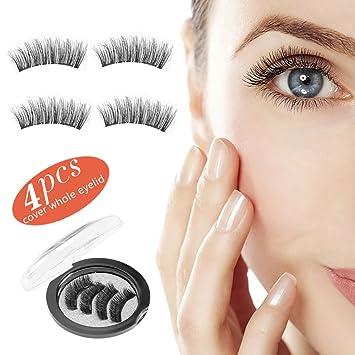228d8c510bc Amazon.com : Magnetic Eyelashes Premium, False Eyelashes No Glue 3D Reusable,  Magnetic Fake Eyelashes Extensions Natural Flawless Look-4pcs : Beauty