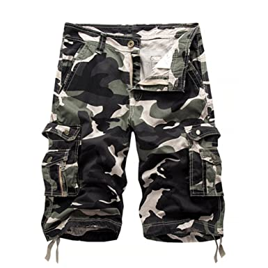 fa2d0f7a27 ZhiYuanAN Men's Summer Camouflage Cargo Shorts Multi-Color Casual Loose  Camo Shorts With Multi-Pockets Light Army Green Camouflage 34: Amazon.co.uk:  ...