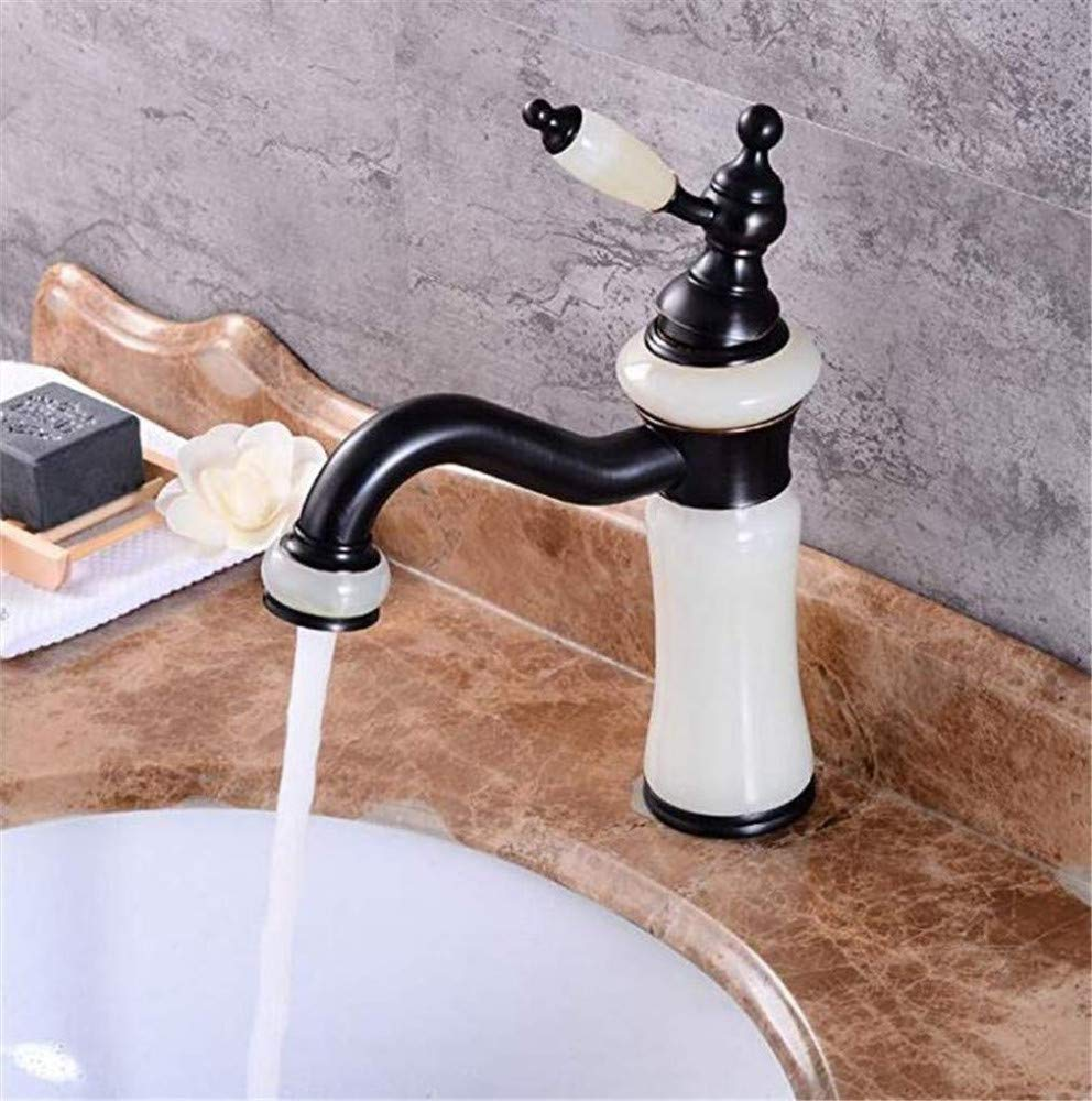 Chrome-Plated Vintage Bathroom Brass Washbasin Hot and Cold Faucet Natural Jade Faucet Bathroom redating Vintage Washbasin Faucet Mixing Faucet