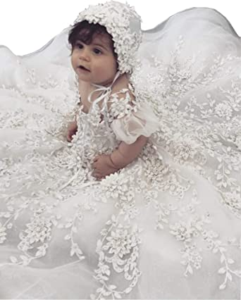 45bbcb2784c5 Amazon.com  Michealboy Luxury Baby Girls Christening Gowns Lace Crystal 3D  Floral Applique Baptism Dresses  Clothing