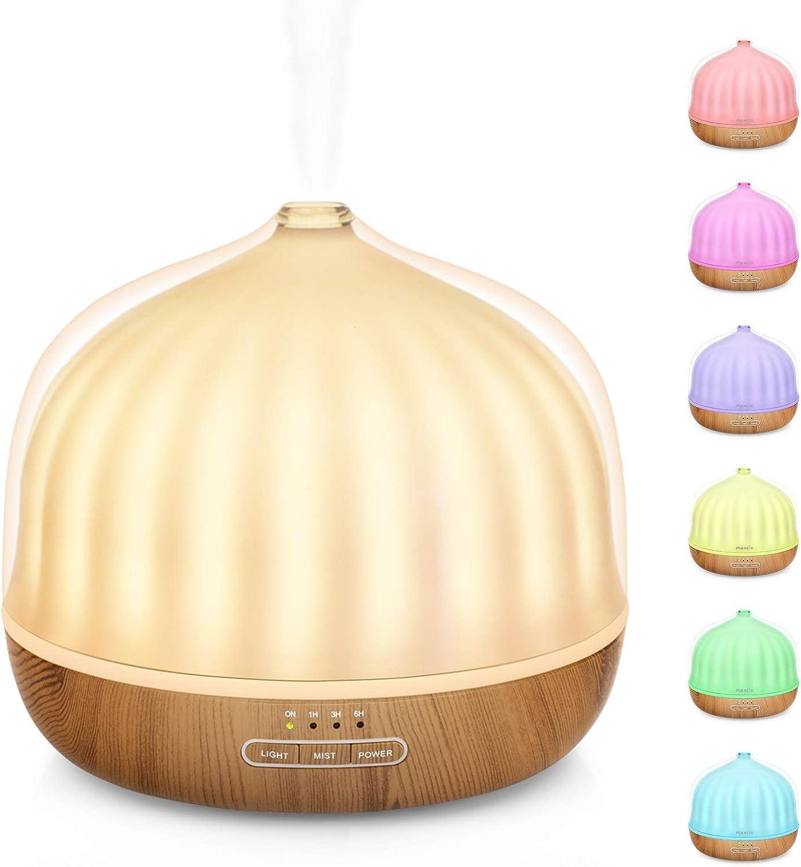 Difusor de Aceites Esenciales de 500ml, Maxcio Difusor de Fragancia con 6 Luces de Colores, Temporizador muy Silencioso y sin BPA, Humidificador de Aire de Niebla Fría para Hogar, Yoga, Oficina, Spa