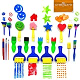 #10: Cre8tivePick kids art & craft 21 pieces of fun painting drawing tools for kids. E-book guide step by step on how to use. Early learning kids painting set, sponge brush, flower pattern brush, Brush set