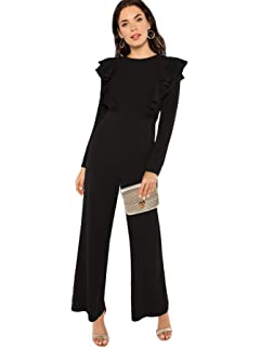 3cef146a43c Romwe Women s Elegant Long Sleeve Ruffle Trim Wide Leg High Waist Long  Jumpsuit