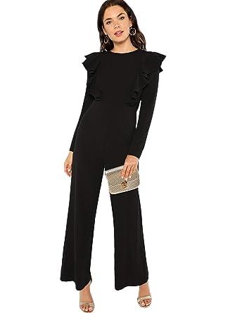 9355e5a5da74 Amazon.com  Romwe Women s Elegant Long Sleeve Ruffle Trim Wide Leg High  Waist Long Jumpsuit  Clothing