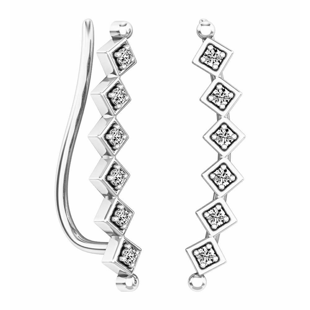 0.15 Carat (ctw) 10K White Gold Round Cut White Diamond Ladies Sweep Up Square Ear Climber Earrings