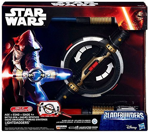 Star Wars Electronic Bladebuilders Battle-Spin Lightsaber Light Daggers]()