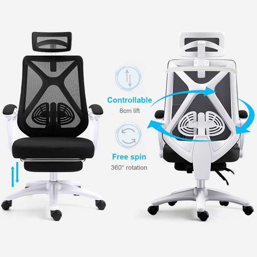 JESU kontorsstol ergonomisk skrivbordsstol svängbar rullande datorstol, stor och hög slitstark verkställande stol, justerbar höjd uppgift stolar, modern, C b