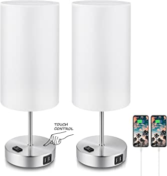 TOBUSA Set of 2 3-Way Dimmable Nightstand Touch Control Table Lamp