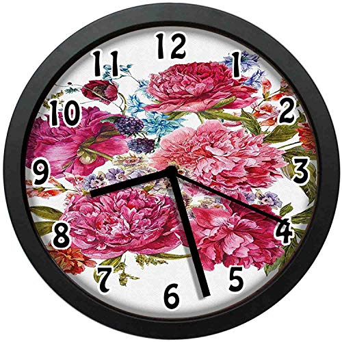 (kuangmaikuangmai-6 Vintage Wall Clock - Gentle Summer Flora Hyacinths BlackBerry and Peonies Victorian Vegetation Unique Decorative Wall Clock Nice for Gift or Office Home 10in with Frame)