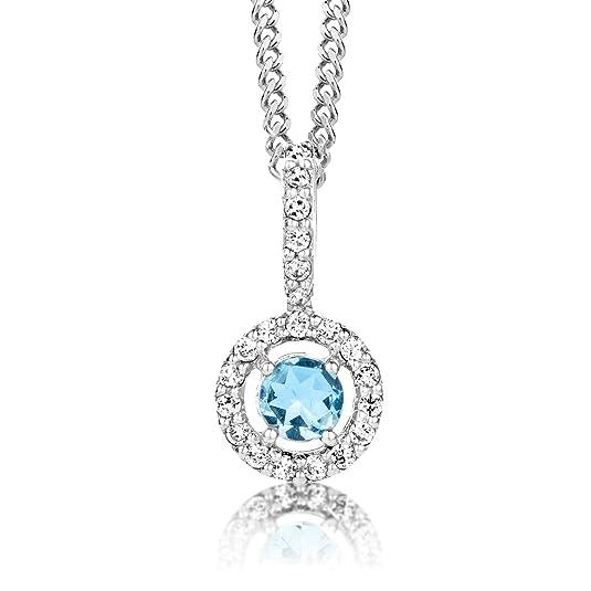 ByJoy Necklace for Women Sterling Silver solitaire pendant Sky Blue Topaz 45 cm chain 925 Silver E5AVTlhwRb