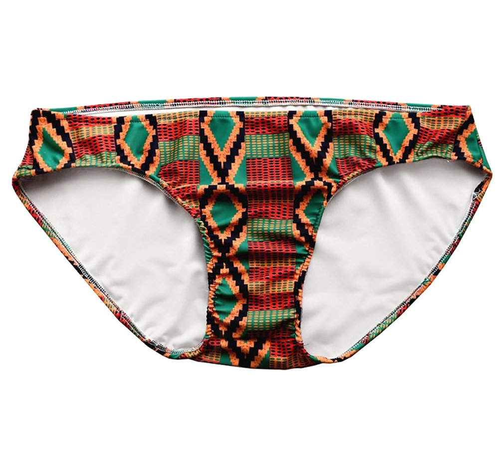 Makkrom Mens African Print Elastic Lined Swimsuit Bottom Swiming Trunk Underwear Briefs