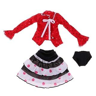 Fenteer Gonna con Maglietta Top Mutande Maniche Lunghe Abbigliamenti da Regalo Festa Natale per Bambolina