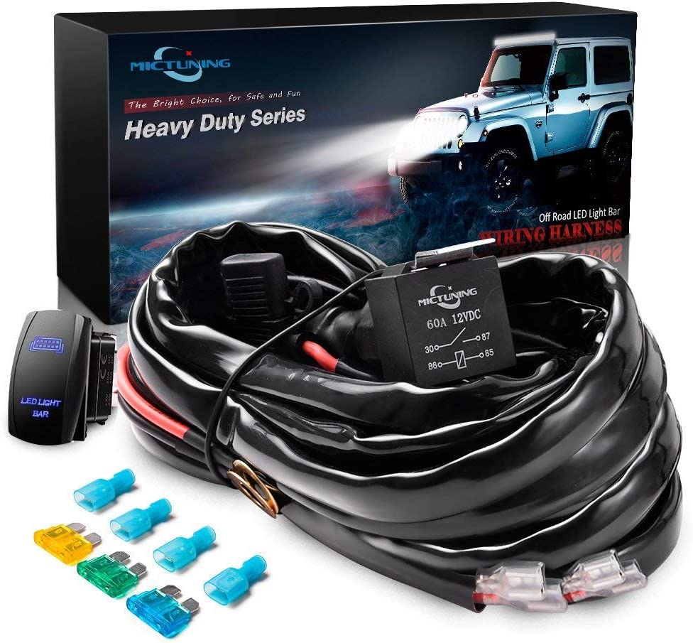 Rocker Switch LED Light Bar 12V Light Bar Wiring Harness With Relay and Fuse
