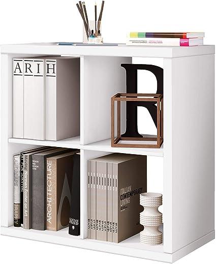 Miroytengo Estantería Cubos 4 Huecos Color Blanco Brillo habitacion Infantil Juvenil despacho Salon almacenaje 77x77x39