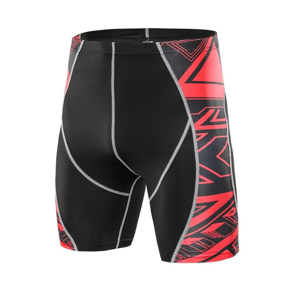 Scaling ☸ Men's Fitness Gym Shorts Printed Compression Pants Elastic Quick Dry Stretchable Shorts Training Workout Running Sport Short Pants Bodybuilding Pants by (S)