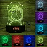 3 3 8 clock insert - Jspliton Clock 3D LED Lamp for Home, Table or Desk Lamp, 3D LED Illusion Night Light With 7 Color Switching, Effects - 3D LED Clock Base With Temperature Sensor, Perfect Gift.