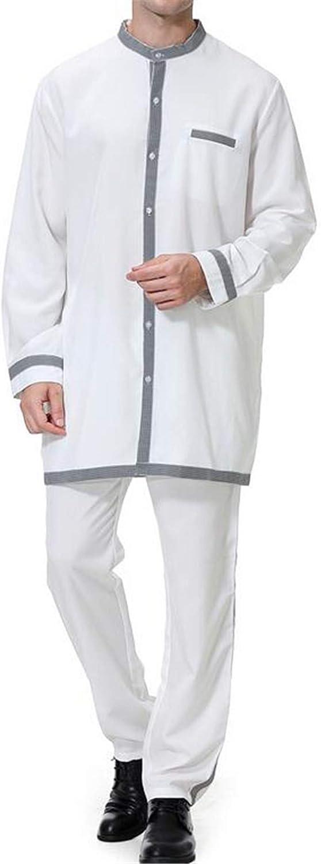 X-Future Men Long Sleeve 2 PCS Outfits Muslim Pants Arabian Kaftan
