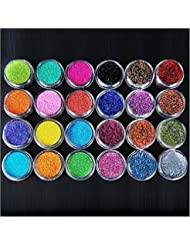 XICHEN 24 Colors Nail Art Make Up Glitter Shimmer Dust Powder Decoration