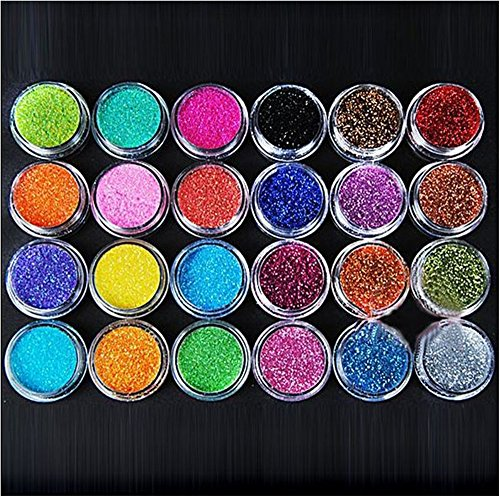 (XICHEN 24 Colors Nail Art Make Up Glitter Shimmer Dust Powder Decoration)