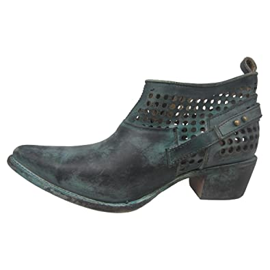 Women's Distressed Green Shortie Pointed Toe Boots C3051