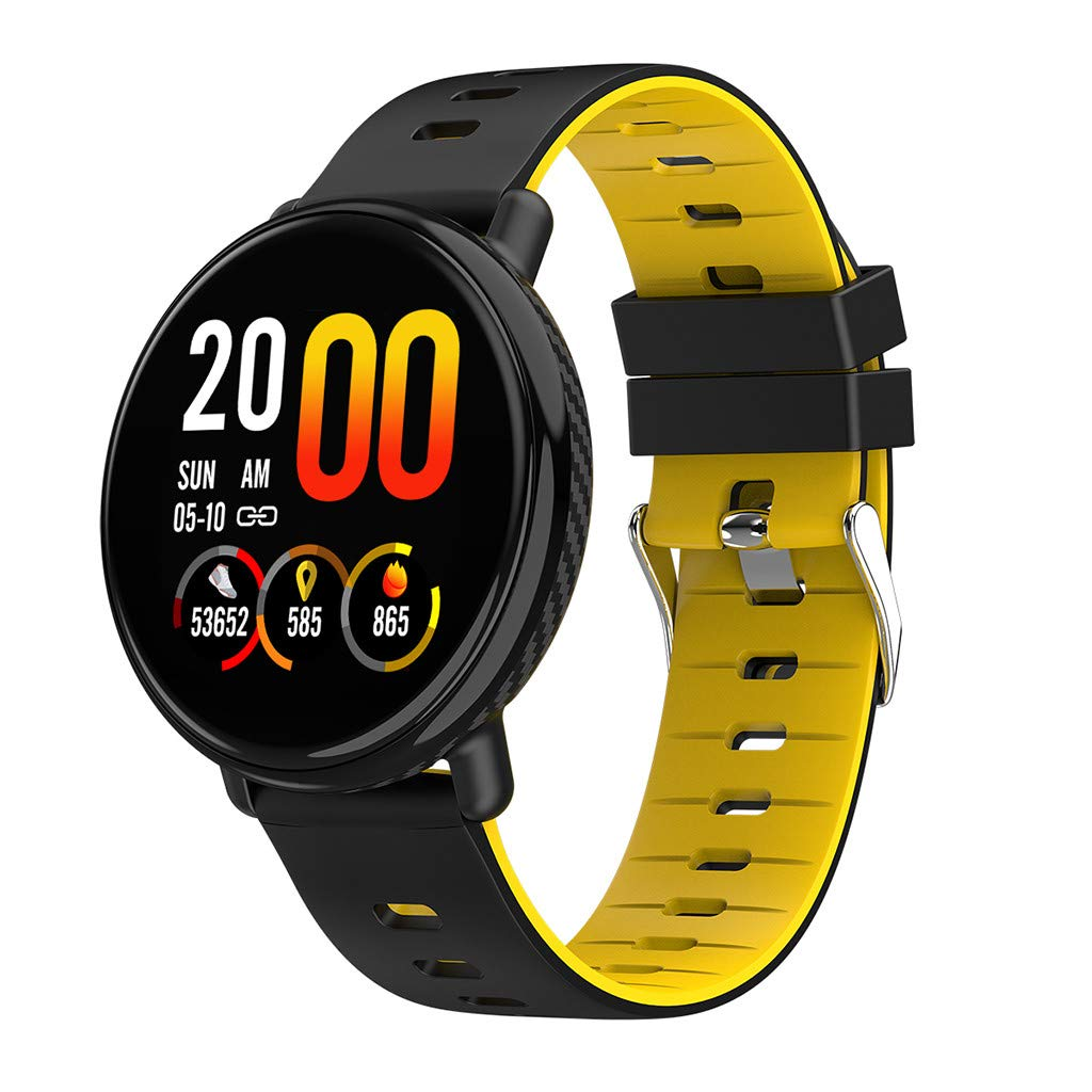 for Android iOS, Sport Smart Watch, Fitness Calorie Blood Pressure Heart Rate Monitor, Remote Photography Smart Bracelet (Yellow) by YNAA (Image #1)