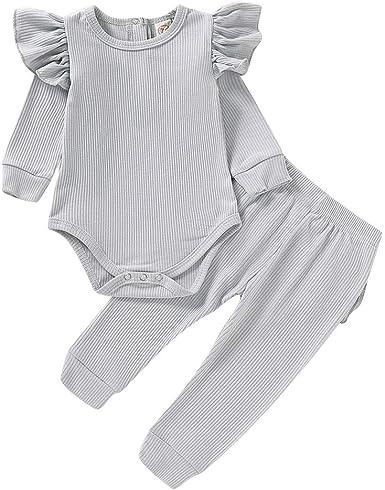Julhold - Conjunto de Ropa para bebé y niña con Volantes Lisos y Lindos Conjuntos de Ropa para el hogar de algodón Informal, Tallas de 0 a 24 Meses: Amazon.es: Ropa y accesorios