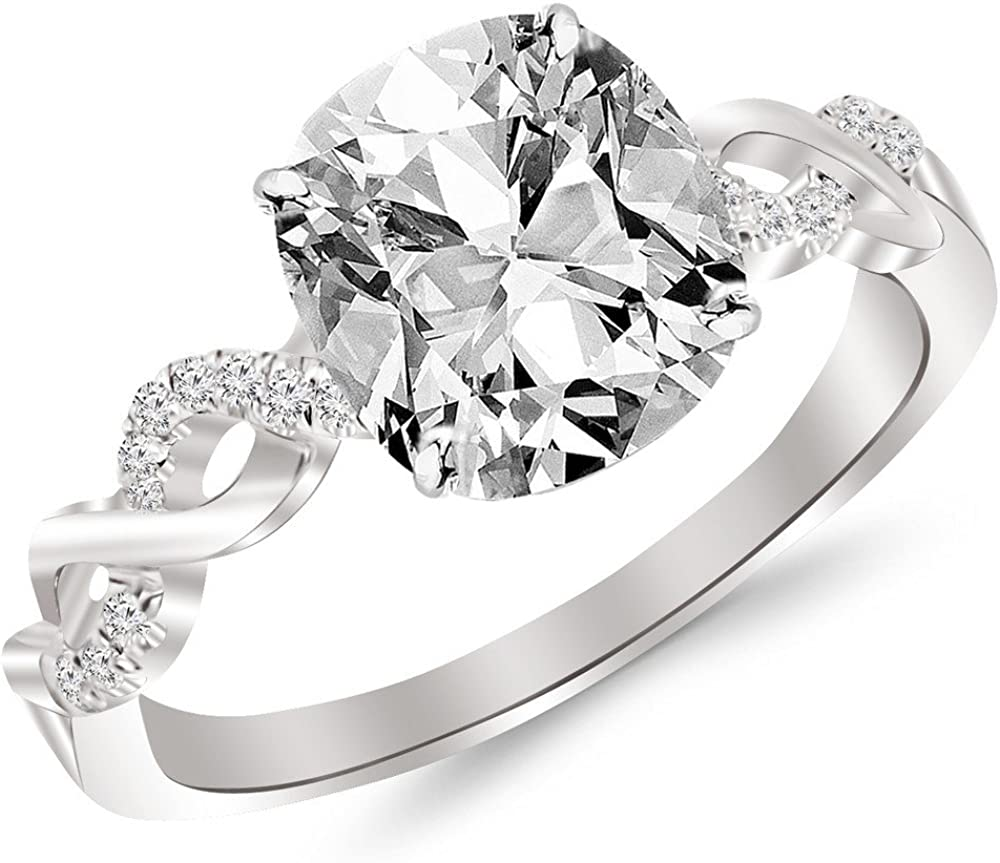 1.13 Carat GIA Certified Twisting Infinity Gold and Diamond Split Shank Pave Set Diamond Engagement Ring (I-J Color, SI2 Clarity Center Stones) - Cushion Cut