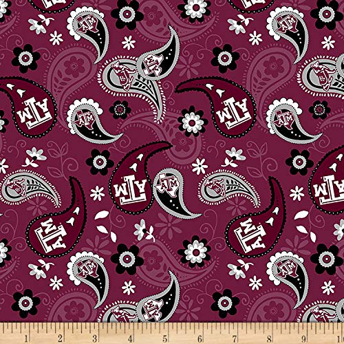 Sykel Enterprises NCAA Texas A&M Paisley Cotton, Fabric by the Yard