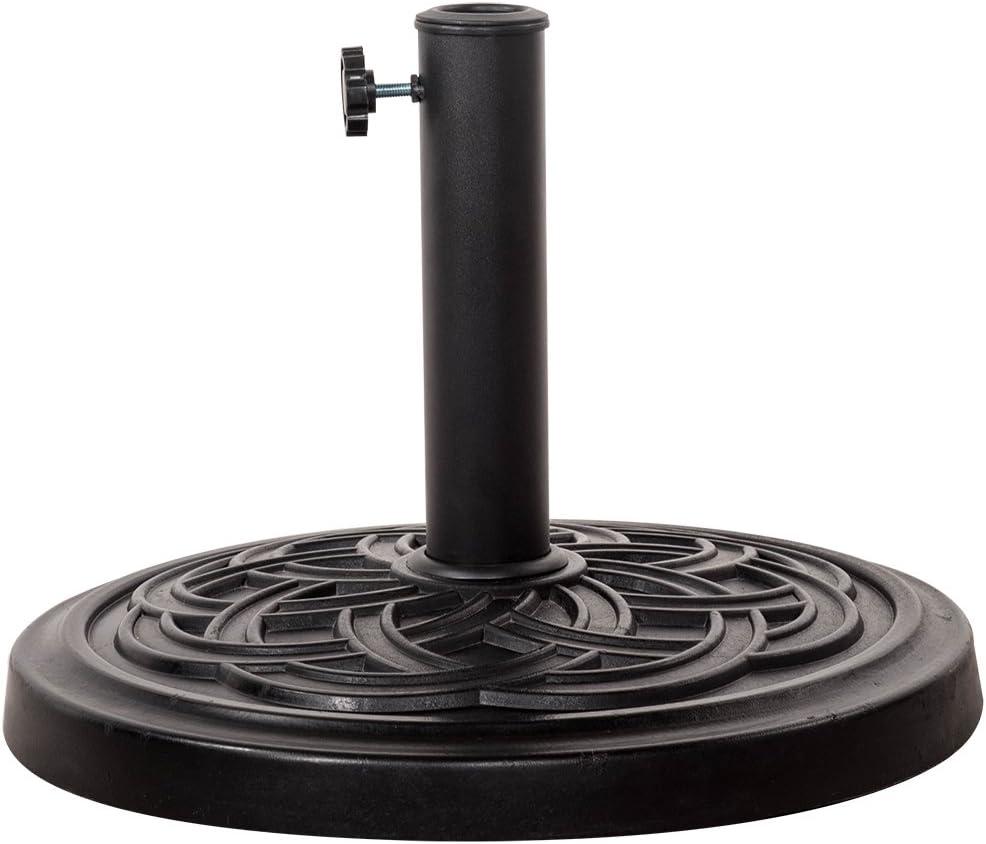 Sundale Outdoor Decorative Cast Stone Patio Umbrella Base Black Resin Heavy Duty Stand, 26 Pounds,Fit 1.5 1.9 inch Umbrella Pole