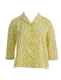 Marina Rinaldi Women's Casato Printed 3-Button Blazer 14W / 23 Yellow