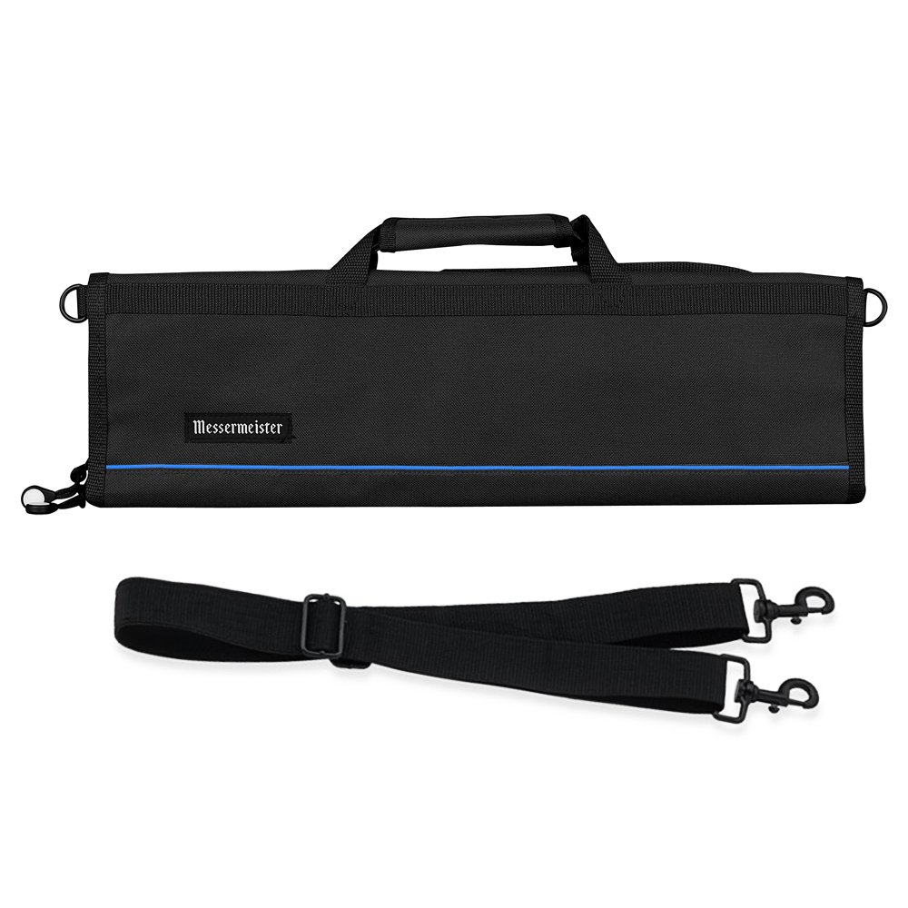 Messermeister 8-Pocket Heavy Duty Nylon Padded Knife Roll, Luggage Grade and Water Resistant, Black by Messermeister