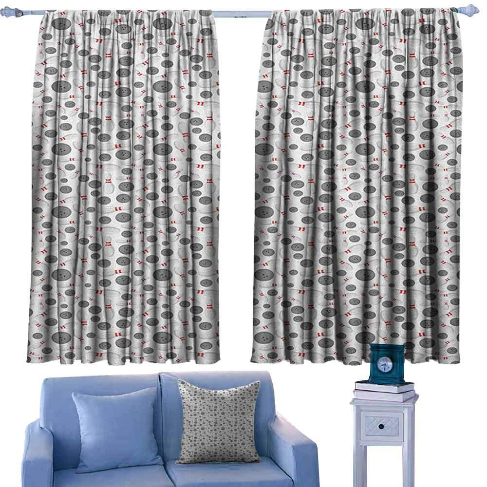 ParadiseDecor Bowling Curtains Realistic Graphic Game Icons Scattered on Plain Backdrop Competition and Fun,Curtains/Drapes for Kids Bedroom,W42 x L45 Inch by ParadiseDecor