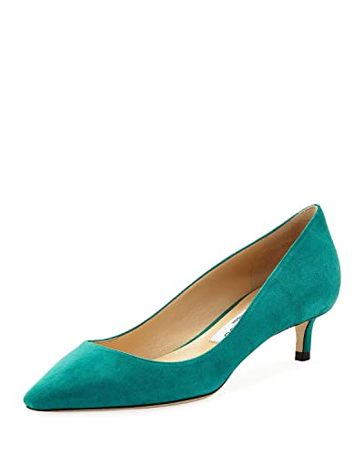7ae793d04 Amazon.com | JIMMY CHOO Romy Suede Low-Heel Pump Shoes 36.5 Emerald | Pumps