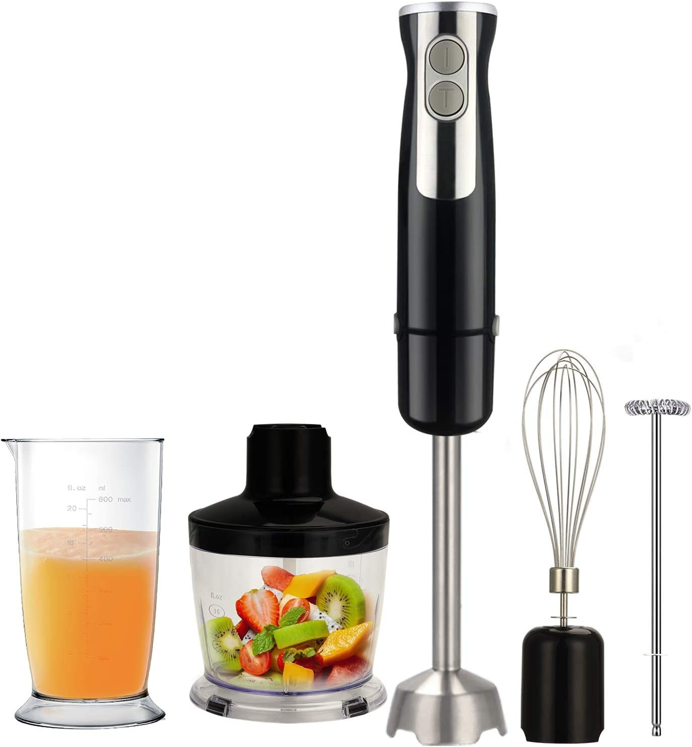 Tinyfort Immersion Hand Blender, 5-in-1 Multifunctional Stick Blender with 6 Variable Speed Control,500ml Food Processor, 600ml Mixing Beaker, Milk Frother,Egg Whisk for Smoothies, Puree Baby Food, Sauces and Soup