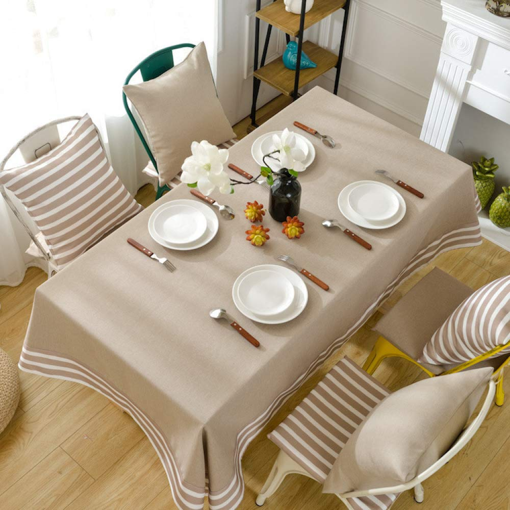 FENGDONG Mediterranean Stripe Table Cloth Waterproof Tassel Dining Table Cover Color 01 130180cm by FENGDONGT