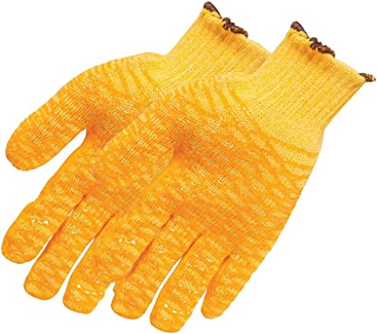 3 x Yellow Gripper Gloves Criss-Cross Rubber Coat Construction And General Use