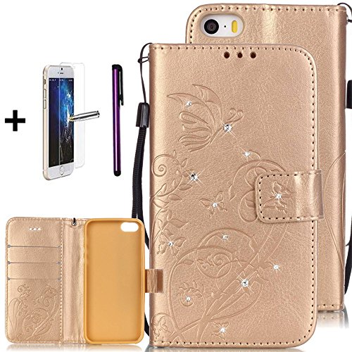 iPhone 5C Case, [Card Slot][Kickstand] - ISADENSER Embossed Flowers Butterfly PU Leather Stand Flip Wallet Case for iPhone 5C + 1pcs Tempered Glass Screen + 1pcs Stylus Pen (Diamonds Gold)