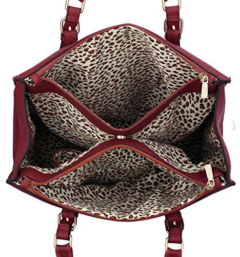 ANNA GRACE - Bolso de tela de piel sintética para mujer Design 1 - Burgundy