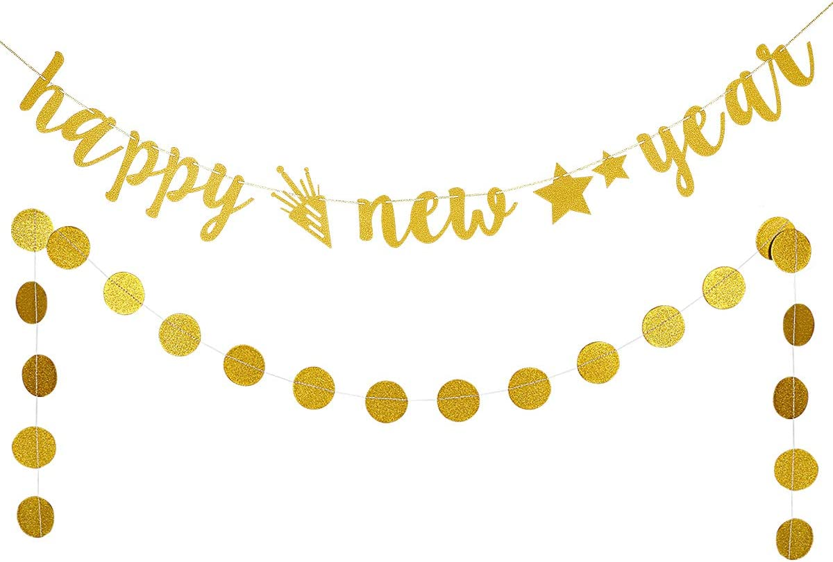 Gold Glittery Happy New Year Banner and Gold Glittery Circle Dots Garland- New Years Eve Party Decorations,New Years Party Decor,Home Decor- Farewell to 2019 and welcome to 2020
