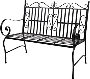 VINGLI Patio Steel Garden Bench with Black Finish, Weather Resistant Patio Metal Bench for Courtyards, Lawns, Balconies, Pools and Beaches