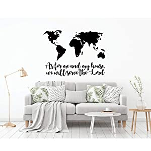 LDS Wall Decal - Missionary Wall Map - Vinyl Decoration for Home, Bedroom, Living Room or Nursery Decor