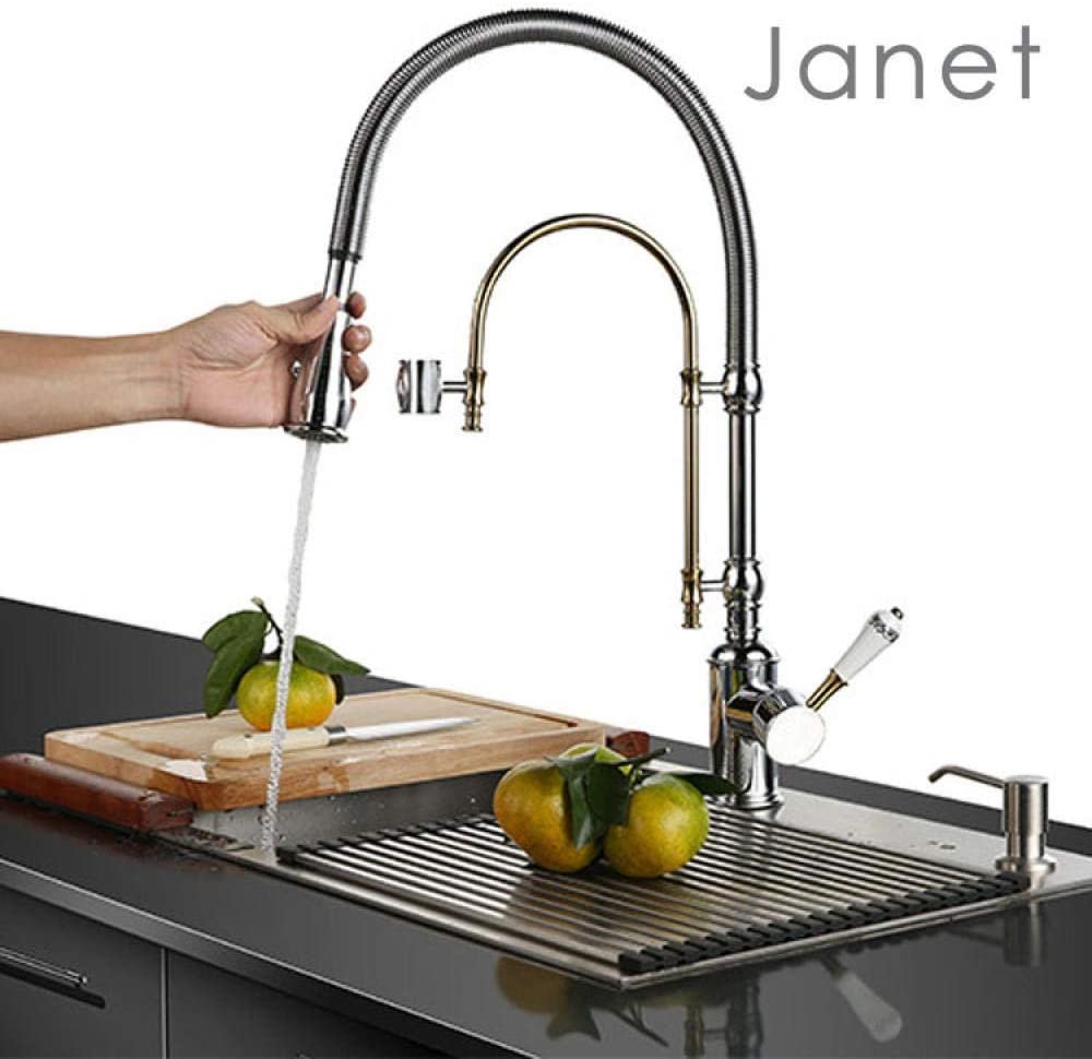 Slt Lever Faucet Basin Faucet Bathroom Taps Bubbler Tap Taps Modern Kitchen Sink Taps Handle Solid Taps Mixer Kitchen Tap with American Taps Kitchen Taps Copper Spring Sink Faucet Two Functions with