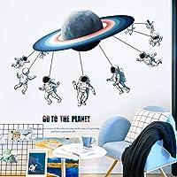 Sayopin Muur Sticker, Astronaut Planeet Wandstickers als Wanddecoratie Voor Slaapkamer Woonkamer Kinderkamer, Kunst DIY…