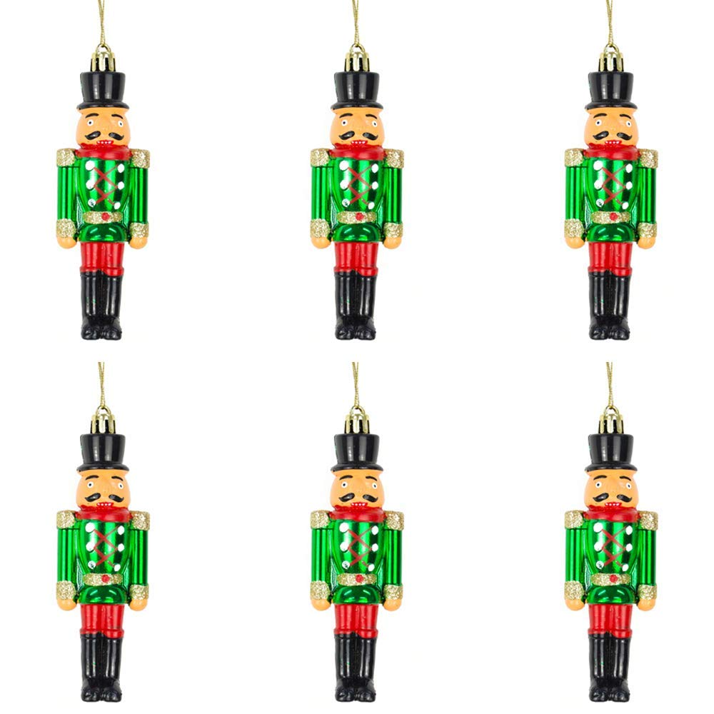 Bellera Set 4 Schiaccianoci Decorazioni per Albero di Natale da Appendere in Legno Dipinti a Mano 10 cm Argento x 4