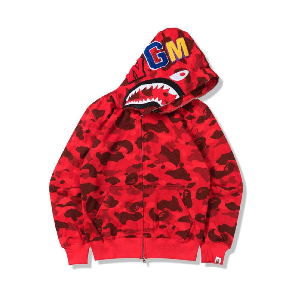 New Bathing Ape Bape Shark Jaw Camo Full Zipper Hoodie Men's Sweats Coat Jacket