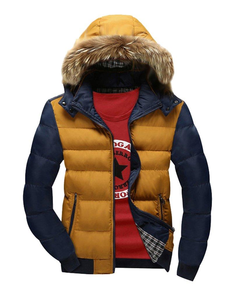 LaoZan Uomo Cappotto invernale con Cappuccio di pelliccia ecologica Giacca con cerniera