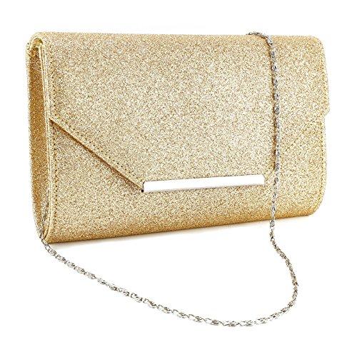 Anladia Envelope Flap-Top Silver-Tone Metal Bar Velvet Clutch Women Chain Strap Handbag (Beige w/glitter)