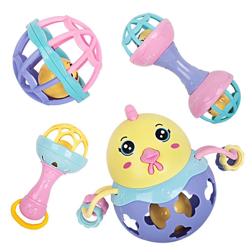 bodolo 4Pcs Baby Rattles Teether Set Shaking Bells Roll Balls Rattle Toys Gifts for Newborn Infants Baby Boys and Girls