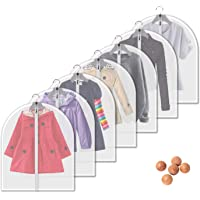 Vosigreen Dust Proof Garment Bags 7 Piece Set - 31 Inch Translucent Garment Covers with Full-Length Zipper for Closet…